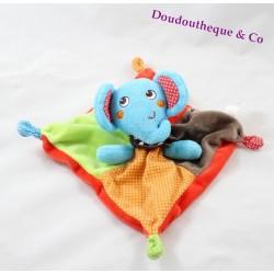 Doudou plat éléphant NICOTOY multicolore carré pois 20 cm