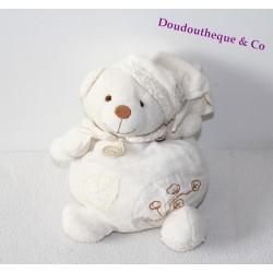 Doudou bio ours DOUDOU ET COMPAGNIE boule blanc fleur de coton coeur