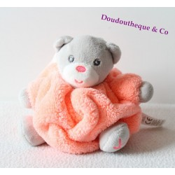 Mini doudou ours KALOO Néon rose clair plume attache tétine 12 cm