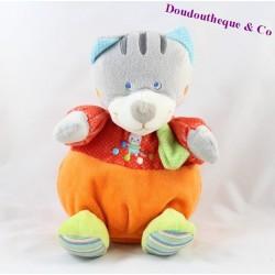 Doudou boule chat MOTS D'ENFANTS orange rouge 21 cm