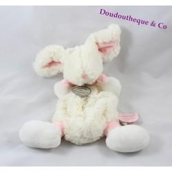 Doudou plat lapin Bonbon DOUDOU ET COMPAGNIE rose et blanc 25 cm