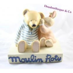 Présentoir magasin MOULIN ROTY ours et lapin statue en plâtre 25 cm