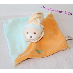 Doudou plat Ours BABY NAT' carré bonnet orange et bleu 21 cm