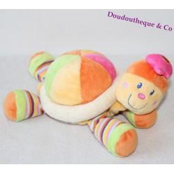 Doudou Tortue MOTS D'ENFANTS LECLERC orange rayé 23 cm