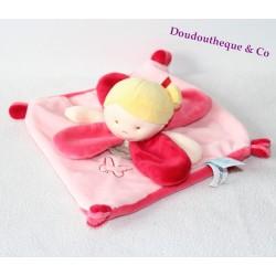 Doudou plat fille BABY NAT' Mes petites poupées blonde rose rouge 24 cm