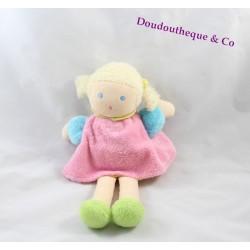 Poupée doudou blonde robe rose NOUNOURS 22 cm