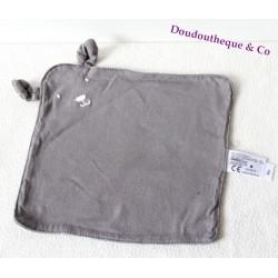 Doudou flat white TEX BABY grey striped rabbit star Carrefour 22 cm