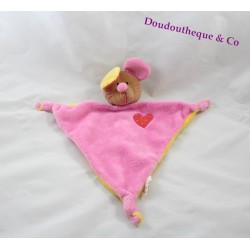 Doudou plat souris CREATIVTOYS rose coeur forme triangle