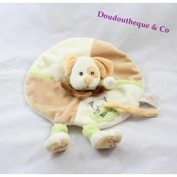 Doudou plat rond Chien BABY NAT' marionnette beige attache tétine