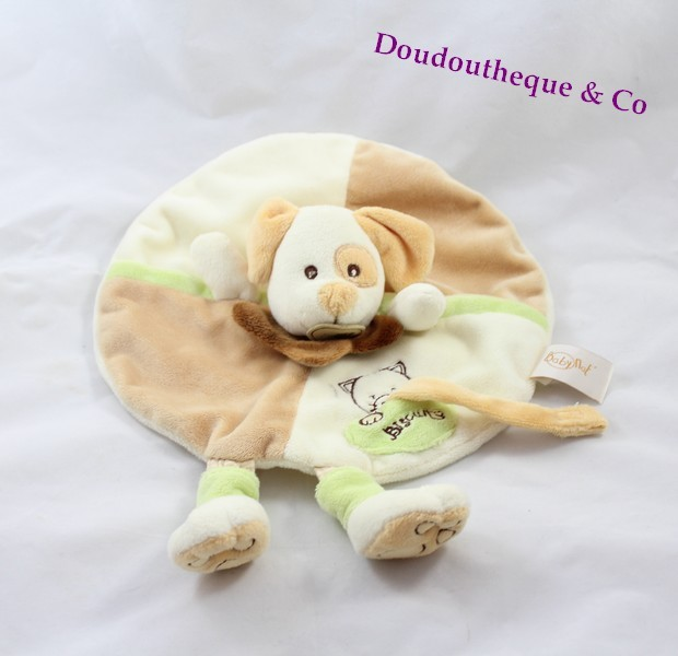 doudou plat rond chien baby nat 39 marionnette beige vert attache t t. Black Bedroom Furniture Sets. Home Design Ideas