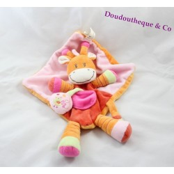 Doudou plat Girafe orange et rose NICOTOY