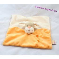 Doudou plat Chien blanc orange DOUKIDOU