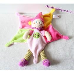 Doudou plat lutin fille NICOTOY étoile chapeau pointu rose vert 34 cm