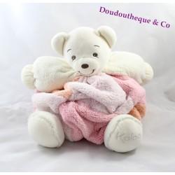 Doudou patapouf ours KALOO plume rose orange tête blanche 30 cm