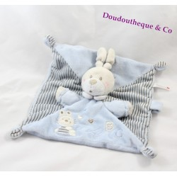 Doudou plat lapin NICOTOY bleu Abc rayures attache tétine lapin 23 cm