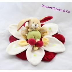 Lapin fleur rouge Doudou et Compagnie