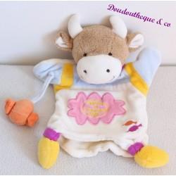 Doudou marionnette vache DOUDOU ET COMPAGNIE bonbon orange 26 cm