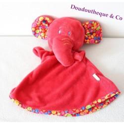 Doudou plat marionnette éléphant MGM DODO D'AMOUR rouge 28 cm