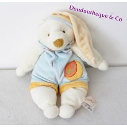 Doudou ours BABY NAT' salopette bleu orange bonnet 30 cm