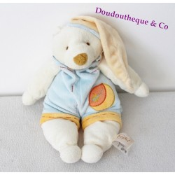 Doudou ours BABY NAT' salopette bleu orange bonnet 30 cm