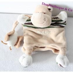 Doudou marionnette Mr Hippo BABY NAT' papillon marron beige rayé 25 cm