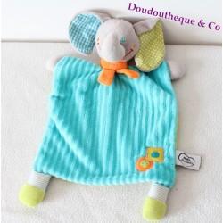 Doudou plat éléphant MOTS D'ENFANTS bleu vert écharpe orange Leclerc 29 cm