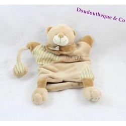 Doudou marionnette Mr Ours BABY NAT' marron beige rayé