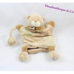 Doudou puppet Mr. bear BABY NAT' striped beige Brown