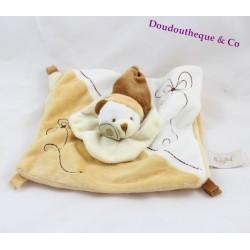 Doudou plat ours BABY NAT' marron blanc fleur carré bonnet 22 cm
