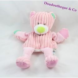 Doudou puppet bear BABY NAT' The ribbed pink doubambins