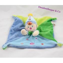 Doudou plat lutin clown NICOTOY garçon vert et bleu ronds rose 22 cm