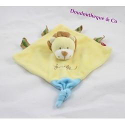 Doudou plat Lion TEX BABY Jungle jaune bleu marionnette 18 cm