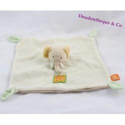 Doudou plat éléphant MOULIN ROTY Les Loustics beige feuille 25 cm