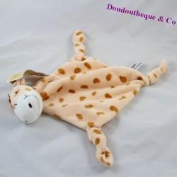 Doudou plat Gigi la girafe Carré Blanc saumon taches marron 33 cm
