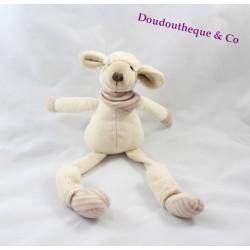 Peluche Glouton le mouton LES PETITES MARIE longue pattes beige bandana 32 cm
