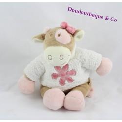 """Doudou Vache NOUKIE'S """"Lola"""" 24 cm Pull Avec fleur Brodée"""