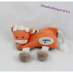 Doudou cow handkerchief AJENA orange and blue vichy legs