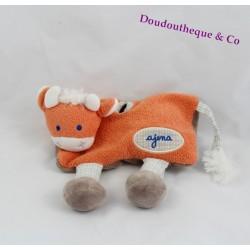 Doudou vache mouchoir AJENA orange et bleu pattes vichy