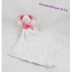 Doudou Souris Mouchoir SUCRE D'ORGE Rose et blanche