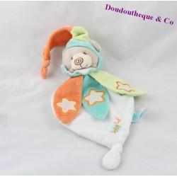 Doudou plat ours BABY NAT' Luminescent multicolore étoile 23 cm