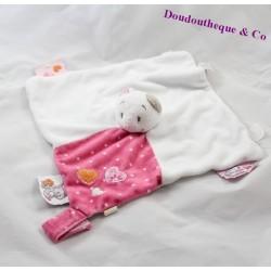 Doudou plat Chat NOUKIE'S Iris et Babette attache tétine rose blanc 25 cm