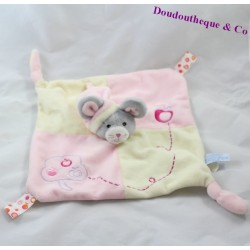 Doudou flat Mouse GIPSY pink leaves green puppet paws
