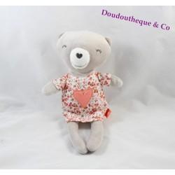 Doudou ours TAPE A L'OEIL robe fleuris coeur rose 25 cm