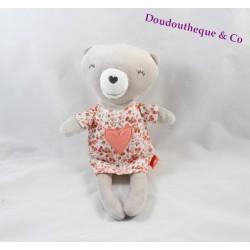 Doudou ours TAPE A L'OEIL robe fleurie coeur rose 25 cm