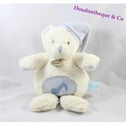 Doudou musical ours BABY NAT' Les câlins blanc bleu bonnet 25 cm BN784