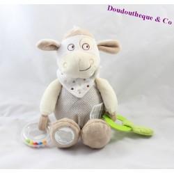 Peluche Mouton MOTS D'ENFANTS beige et créme grelot
