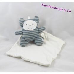 Doudou mouchoir BERLINGOT Cajou monstre rayé bleu gris