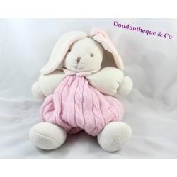 Sac à dos peluche lapin KALOO Liliblue rose laine 30 cm