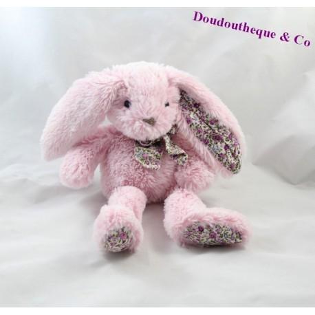 Doudou lapin HISTOIRE D'OURS Les Copains Calins rose 26 cm
