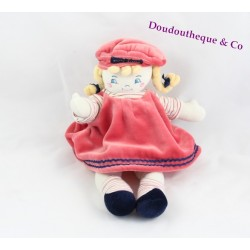 Poupée chiffon  SUCRE D 'ORGE robe rose 32 Cm